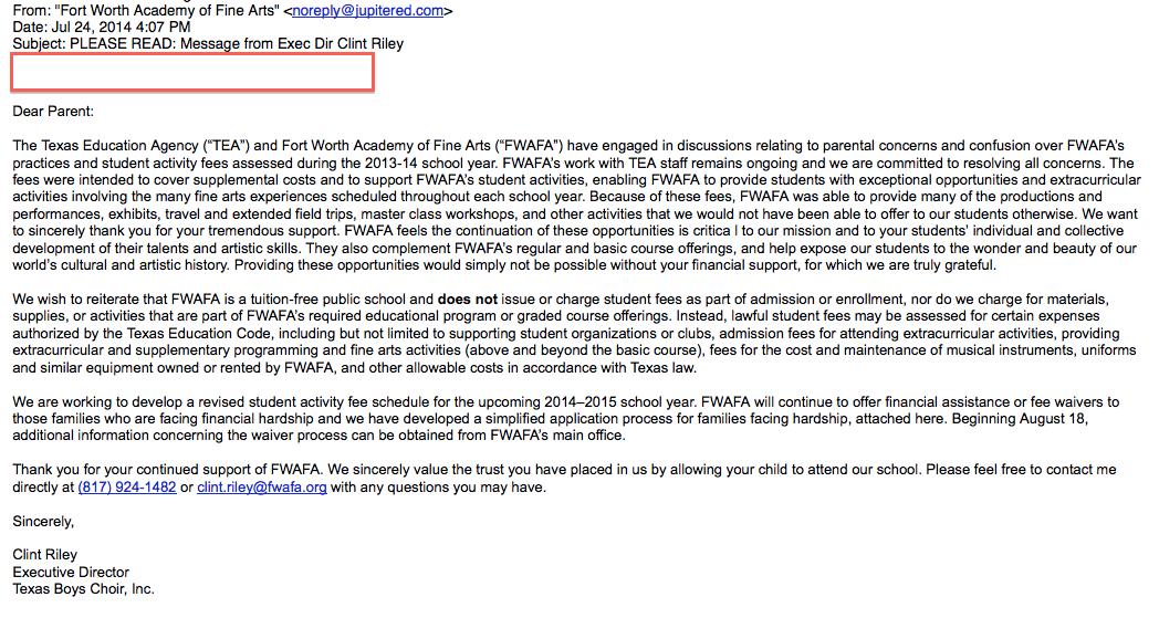 FWAFA to Parent - June 24 2014 regarding fees