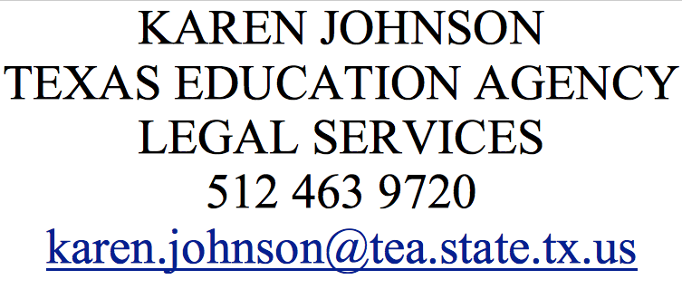 Karen Johnson Texas Education Agency legal services - contact information